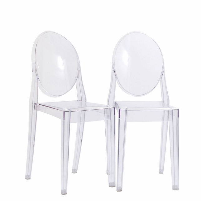 Set Of 2 Casper Modern Stackable Acrylic Dining Side Chairs Clear