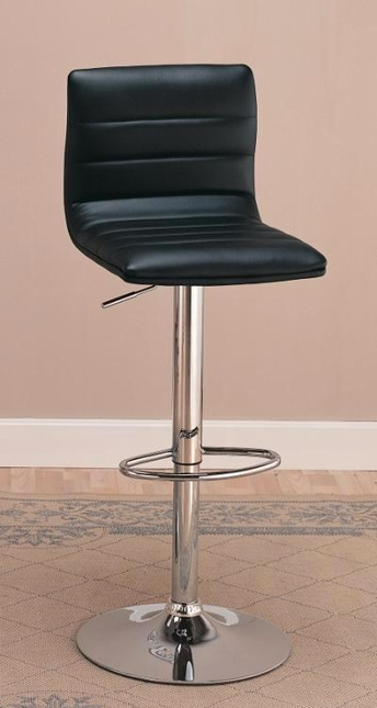 Set of 2 Chrome Contemporary Faux Leather Adjustable Bar Stools