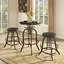Set Of 2, Collect Industrial Bar Stool w/ Wood Seat & Cast Iron Frame, Black