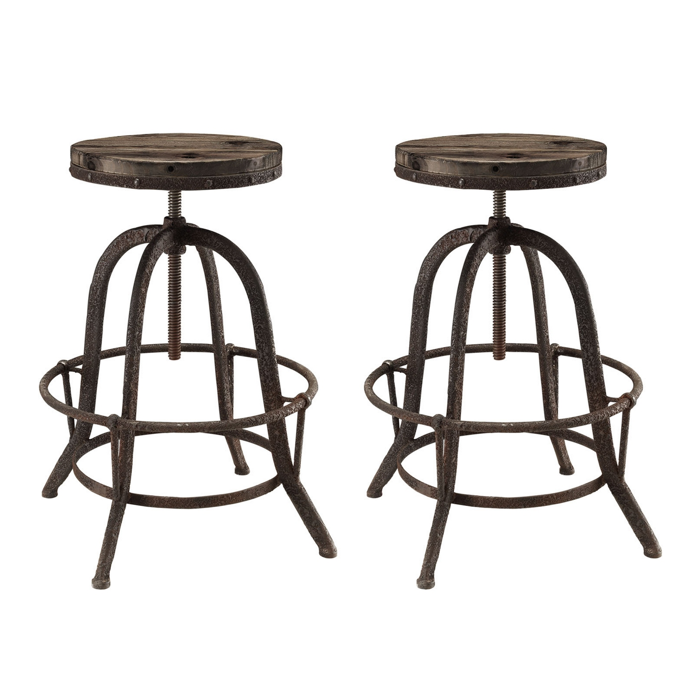 Set Of 2collect Industrial Bar Stool Wwood Seat amp Cast  : set of 2 collect industrial bar stool w wood seat cast iron frame brown 1 from shopfactorydirect.com size 1400 x 1400 jpeg 375kB