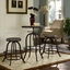 Set Of 2, Collect Industrial Bar Stool w/ Wood Seat & Cast Iron Frame, Brown