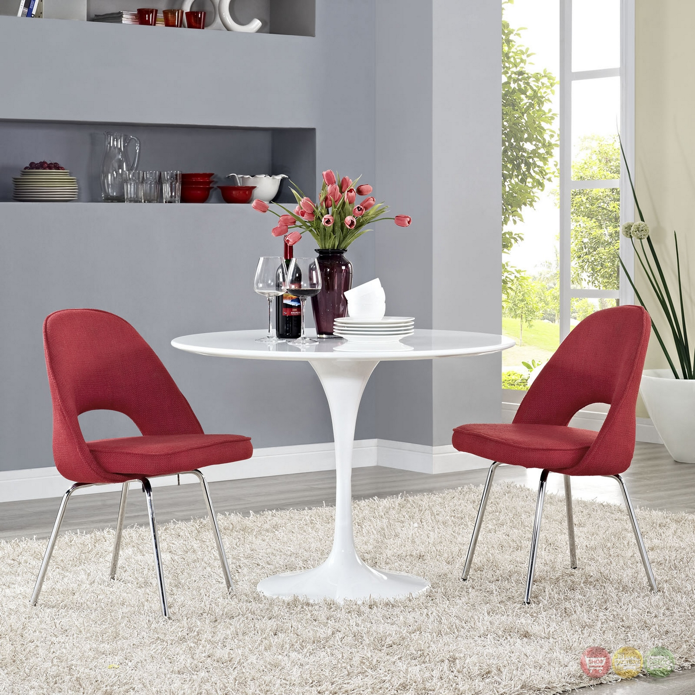 Set Of 2 Cordelia Modern Tweed Upholstered Dining Chairs  : set of 2 cordelia modern tweed upholstered dining chairs with chrome legs red 9 from shopfactorydirect.com size 1400 x 1400 jpeg 1038kB