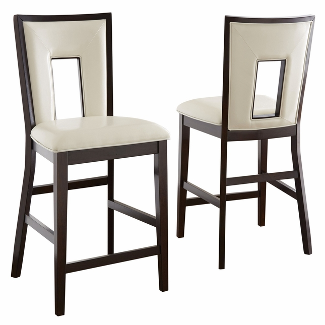 Set Of 2, Delano Okoume White Counter Height Chairs In Espreso Cherry