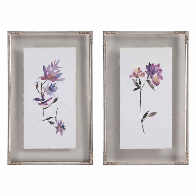"""Set Of 2, Delicate Floral Watercolors Art Framed On Double Glass Frames, 19""""x31"""""""