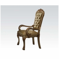 Set Of 2, Dresden Pu Leather Arm Chairs In Gold Patina Carved Wood