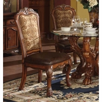 Set Of 2, Dresden Side Chairs In Cherry Oak And Brown Faux Leather
