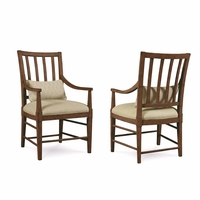 Set of 2, Echo Park Slat Back Birch Arm Chair with Stipple Stained Finish