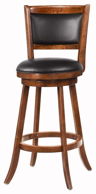 Set of 2 Espresso 29 Inch Swivel Black Upholstery Bar Stools