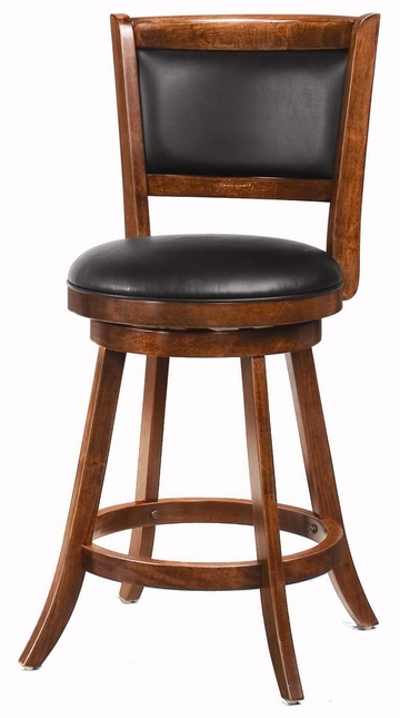 Set of 2 Espresso Finish 24 Inch Swivel Curved Leg Bar Stools