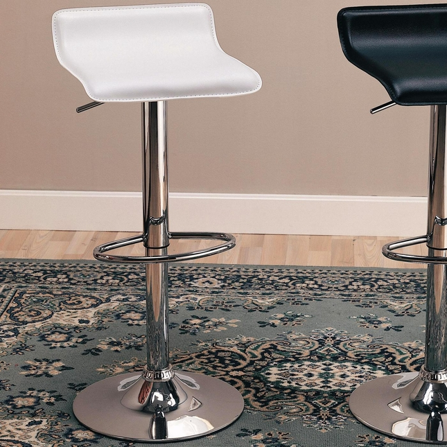 Set of 2 Faux Leather & Chrome Contemporary 29 Inch Bar Stools