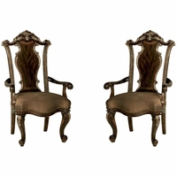 Set of 2, Gables Exotic Okume Veneer Splat Back Arm Chair in Dark Cherry