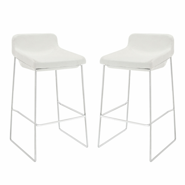 Set Of 2, Garner Contemporary Upholstered Bar Stool With Chrome Frame, White