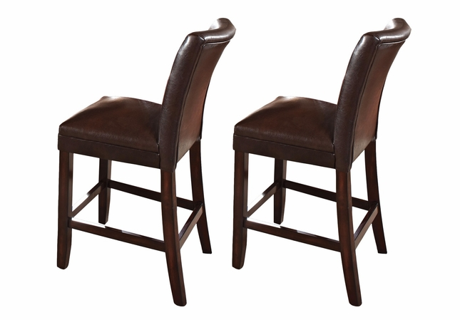 Set Of 2 Hartford Brown Leather Upholstered Counter