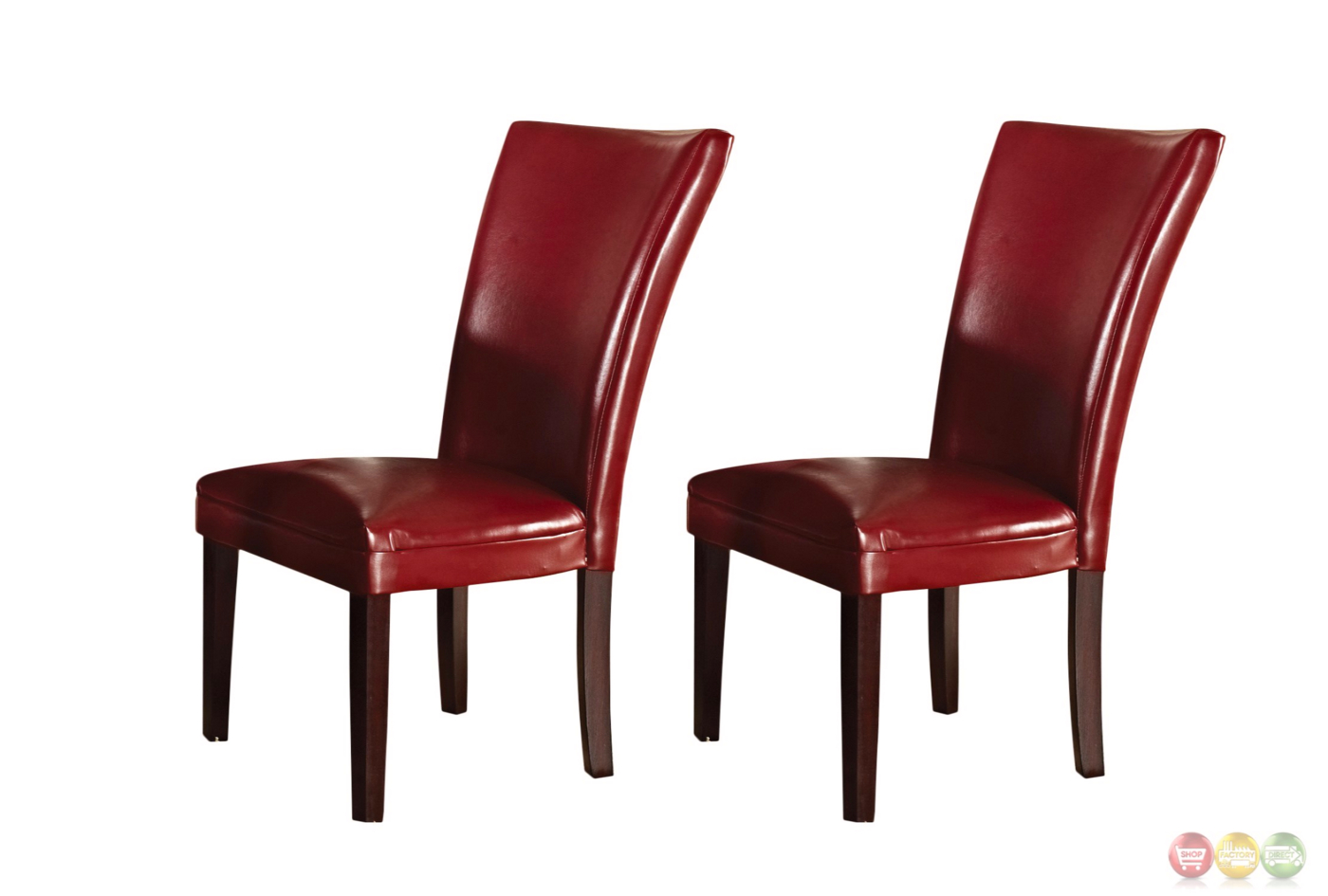 Set of 2 hartford contemporary red leather upholstered - Red upholstered dining chairs ...