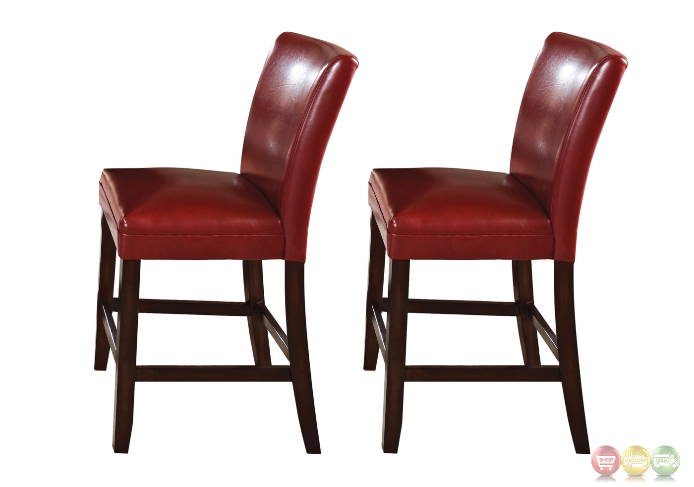 Set Of 2 Hartford Red Leather Upholstered Counter Height  : set of 2 hartford red leather upholstered counter height chair 1 from shopfactorydirect.com size 1400 x 982 jpeg 192kB