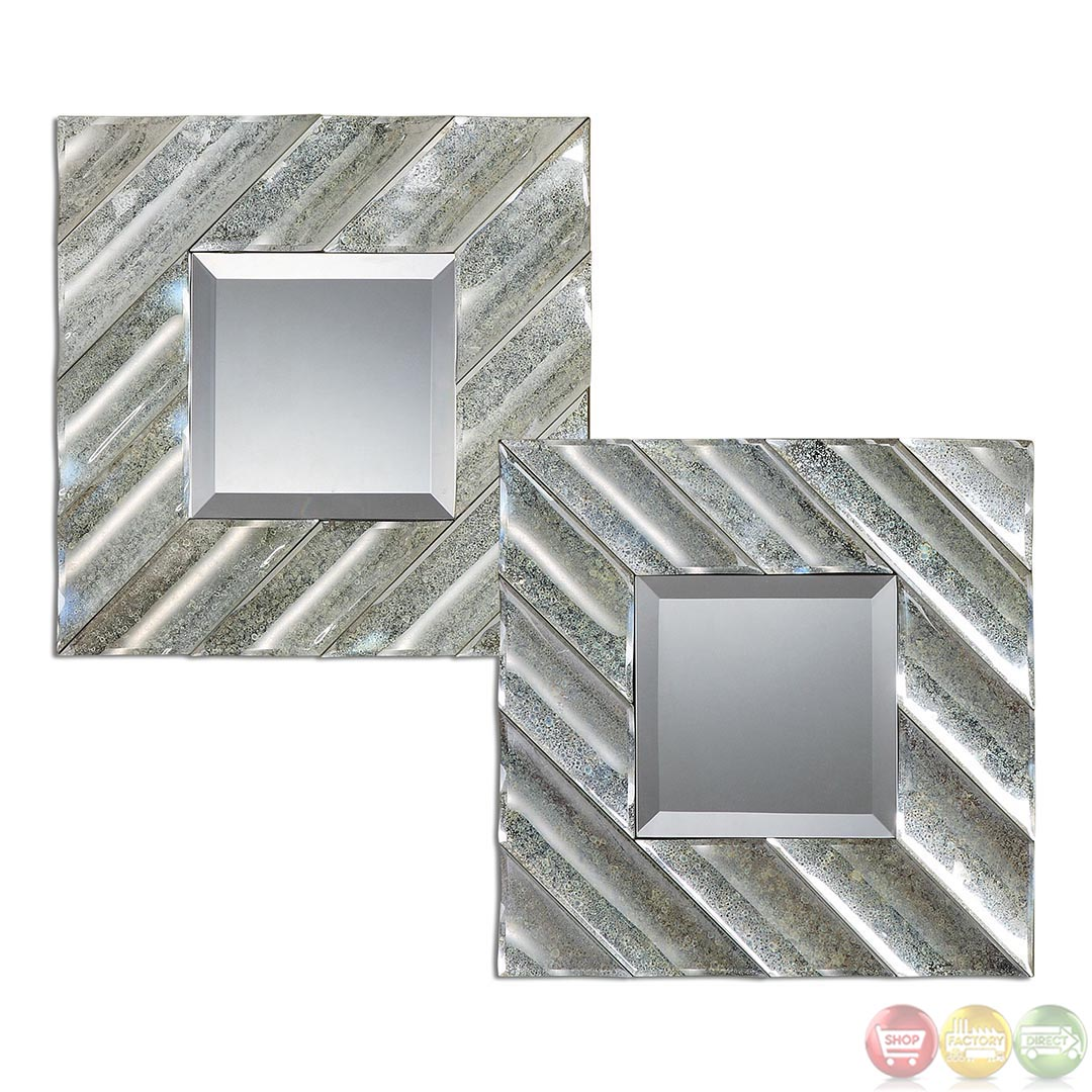 Set Of 2 Jovan Contemporary Antiqued Square Mirror 08114