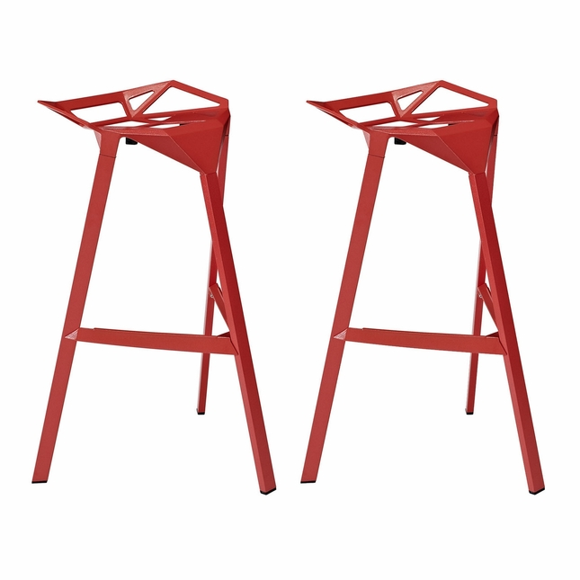Set Of 2, Launch Geometrical Stacking Bar Stool w/ Coated Aluminum Frame, Red