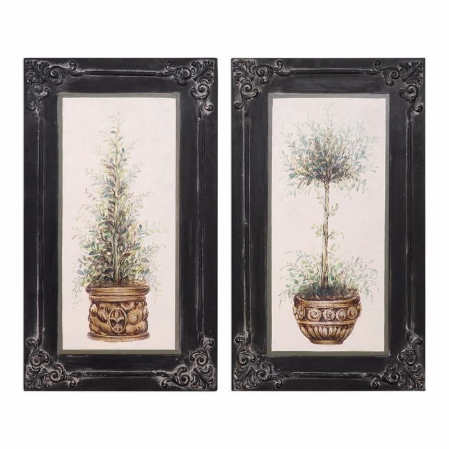 "Set Of 2, Lightweight Vintage Style Wall Art Of Hand Painted Topiaries, 16""x28"""