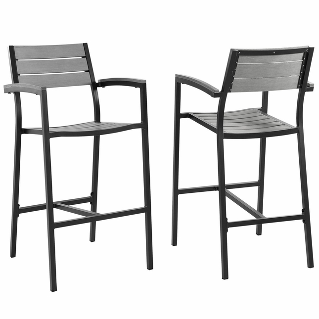 Set Of 2, Maine Rustic Wooden Plank Board Outdoor Patio Bar Stool, Brown Gray