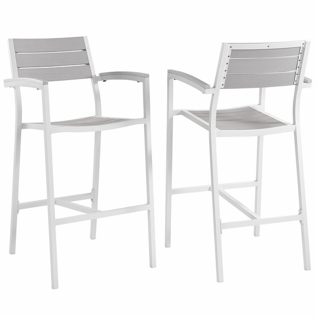 Set Of 2, Maine Rustic Wooden Plank Board Outdoor Patio Bar Stool, White Light Gray