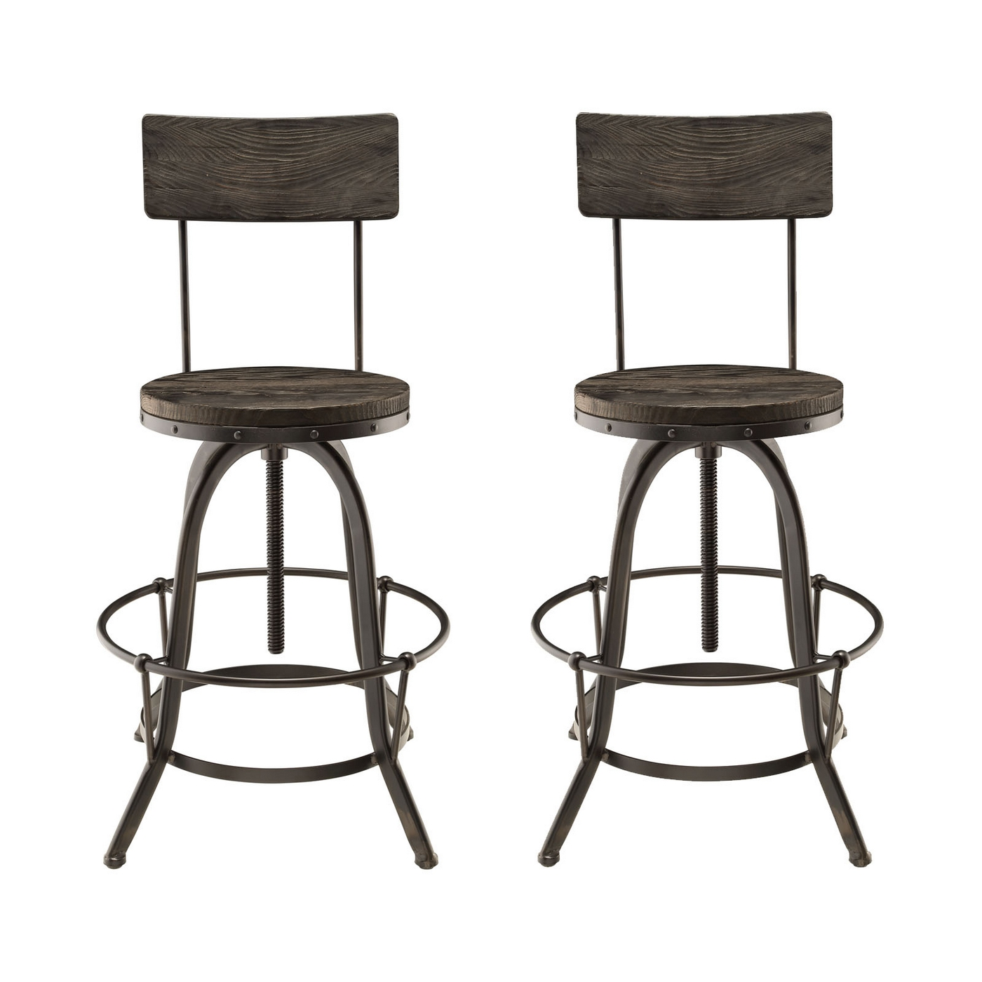 Industrial Iron And Wood Kitchen Bar Stools photo - 6