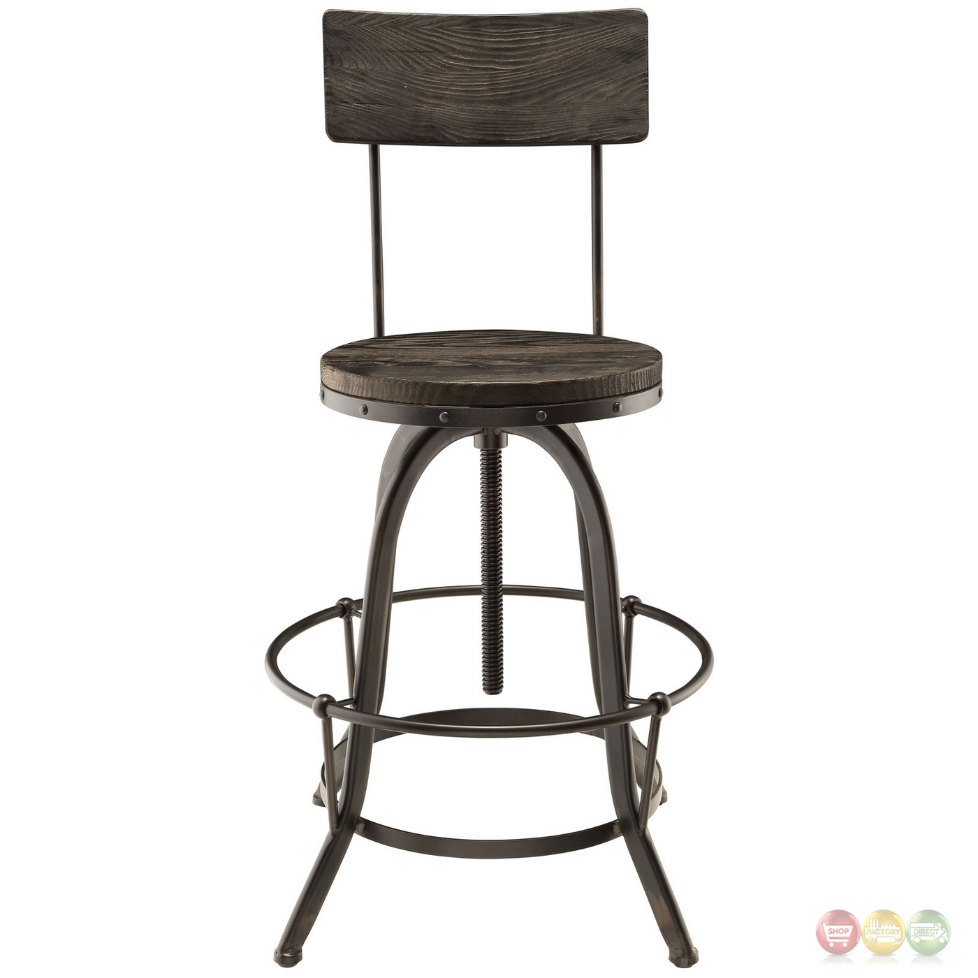 Set Of 2 Procure Industrial Bar Stool W Wood Seat Backs