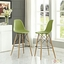 Set Of 2, Pyramid Deep Seat Molded Plastic Bar Chair w/ Wood Legs, Light Green