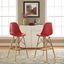 Set Of 2, Pyramid Deep Seat Molded Plastic Bar Chair w/ Wood Legs, Red