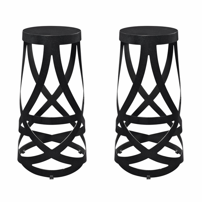 Set Of 2, Ribbon Contemporary Bar Stool In Coated Steel Finish, Black