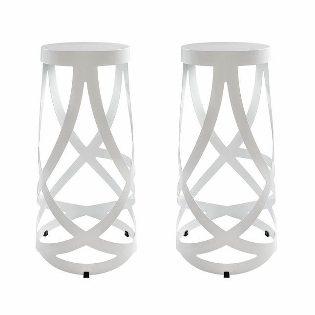 Set Of 2, Ribbon Contemporary Bar Stool In Coated Steel Finish, White