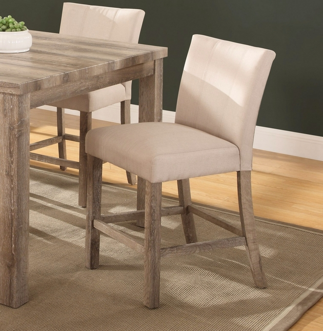 Set Of 2, Sanders Classic Counter Height Chairs In Weathered Wood Finish
