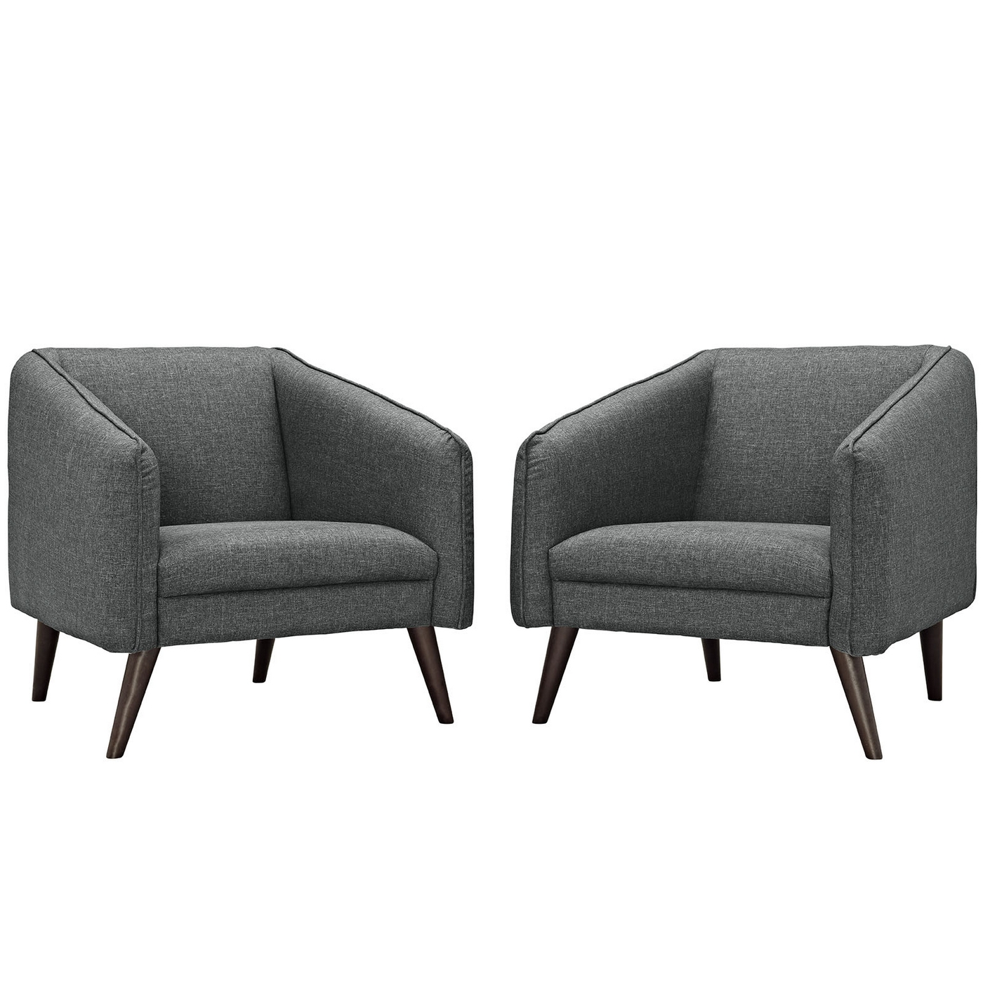 Of 2 Slide Modern Upholstered Armchairs W/ Wooden Dowel Legs Gray. Full resolution  file, nominally Width 1400 Height 1400 pixels, file with #5A4E47.