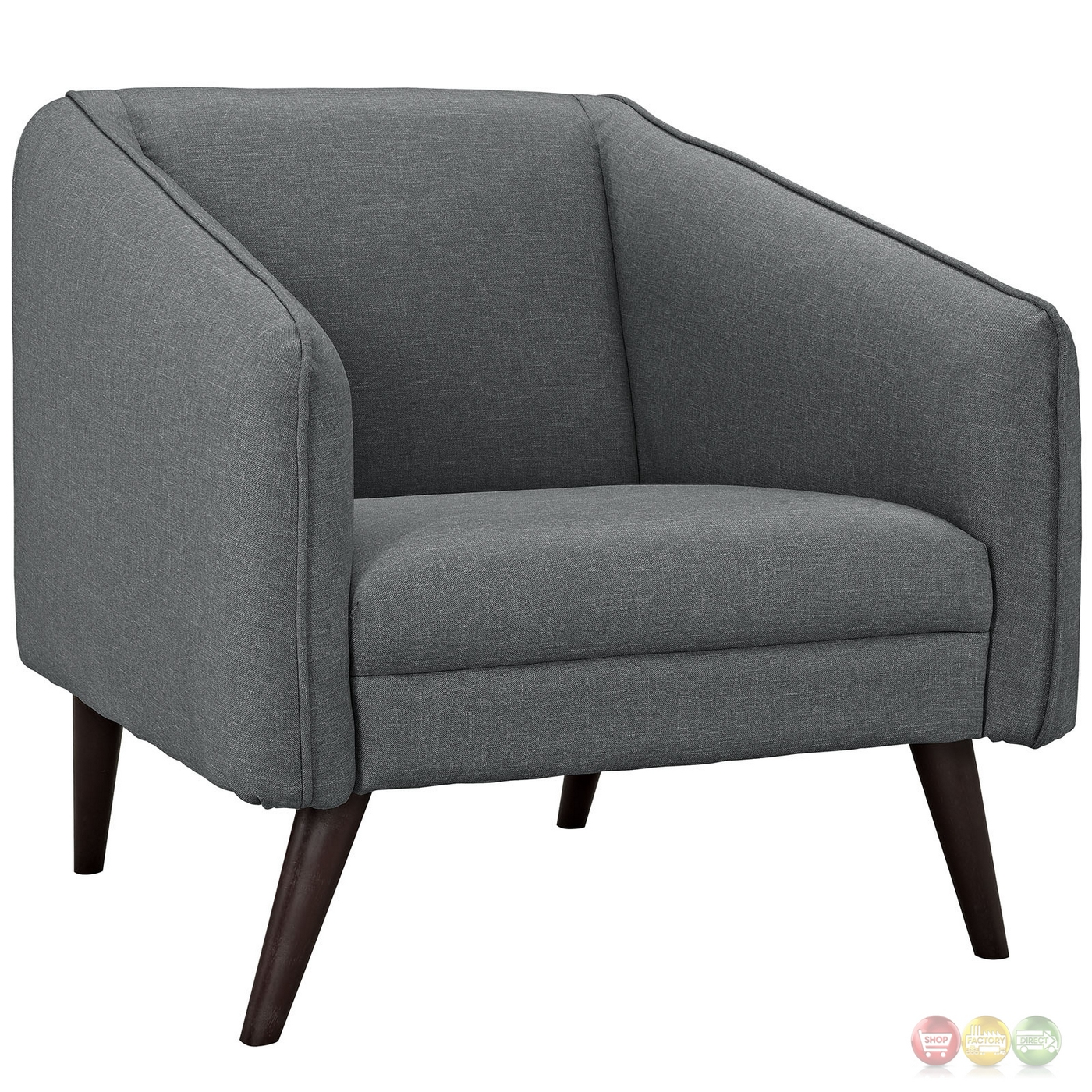 Of 2 Slide Modern Upholstered Armchairs W/ Wooden Dowel Legs Gray. Full resolution  file, nominally Width 1400 Height 1400 pixels, file with #A1852A.