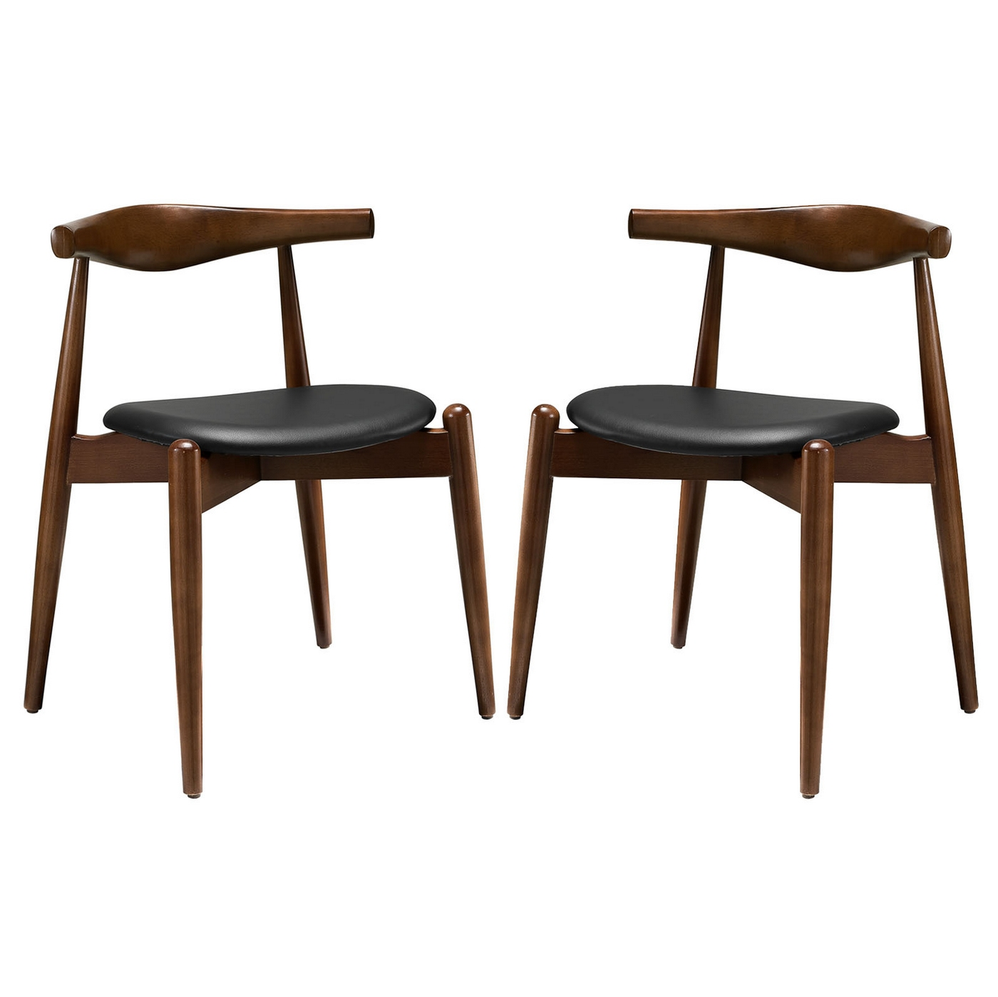 set of 2 stalwart contemporary wood dining side chairs w