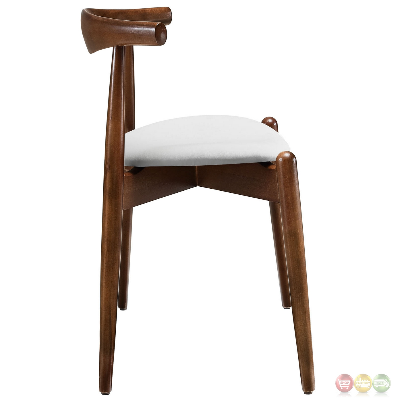 Wonderful image of  Wood Dining Side Chairs w/ Upholstered Seats Dark Walnut White with #3E2415 color and 1400x1400 pixels