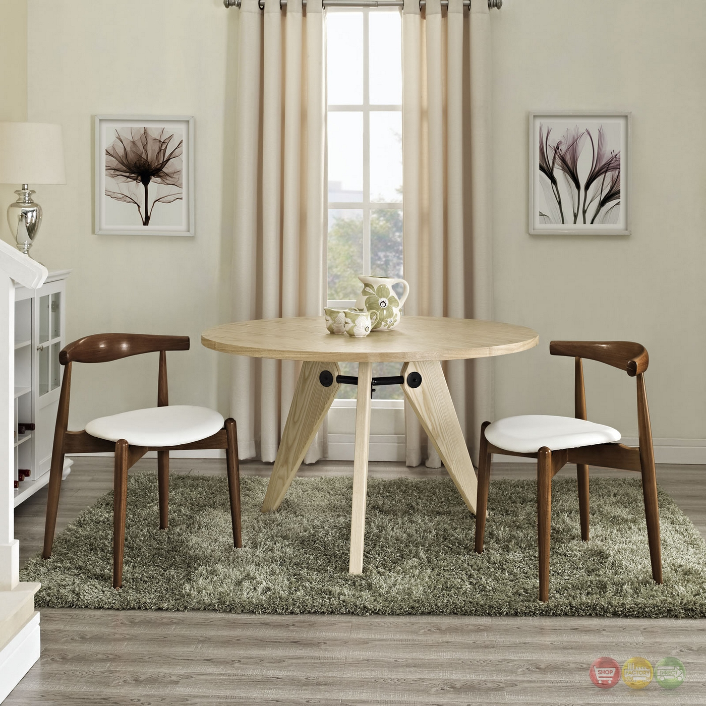 Wonderful image of  Wood Dining Side Chairs w/ Upholstered Seats Dark Walnut White with #403526 color and 1400x1400 pixels
