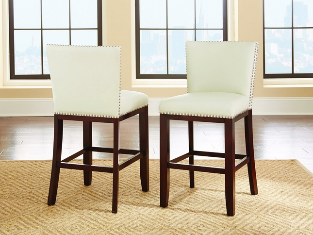 Set Of 2, Tiffany Modern Hardwood White Vinyl Counter Height Chairs