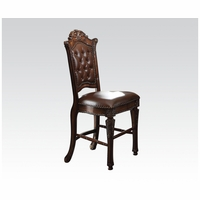 Set Of 2, Vendome Button Tufted Faux Leather Side Chair In Brown Cherry