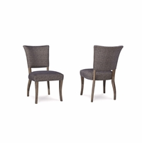 Set of 2, Williamsburg Cross Hatched Grey Accent Chair with Reclaimed Finish