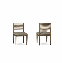Set of 2, Williamsburg Stylized Slat back Side Chair With Reclaimed Finish