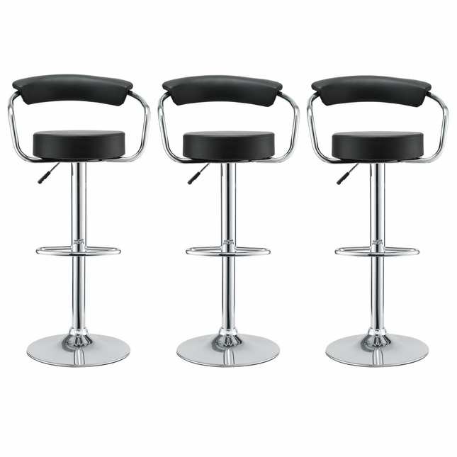 Set Of 3, Diner Modern Vinyl Upholstered Low Back Bar Stool, Black