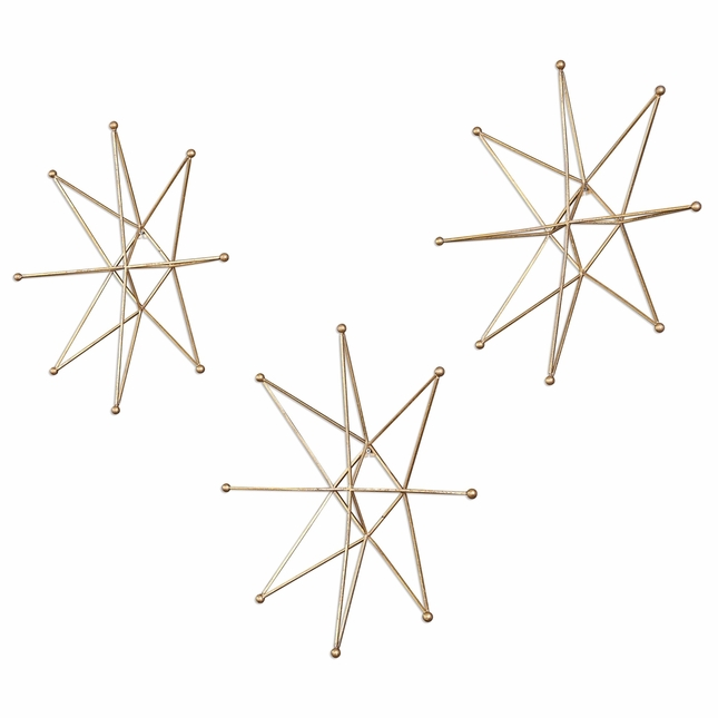 Set Of 3, Geometric 3D Star Polygon Iron Wall Accent In Antiqued Gold Finish
