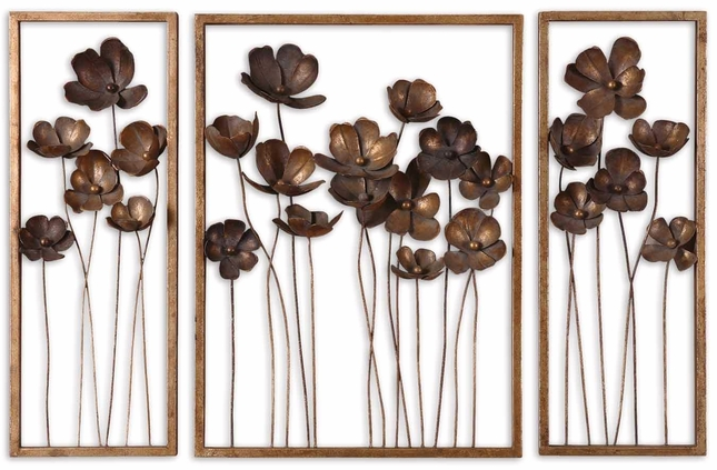 Set of 3 Metal Tulips Traditional Antiqued Gold Leaf Wall Art  12785
