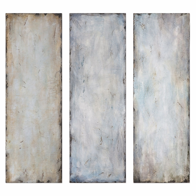 """Set of 3, Textured Trio Handpainted Abstract Blue And Beige Wall Art, 20""""x60"""""""