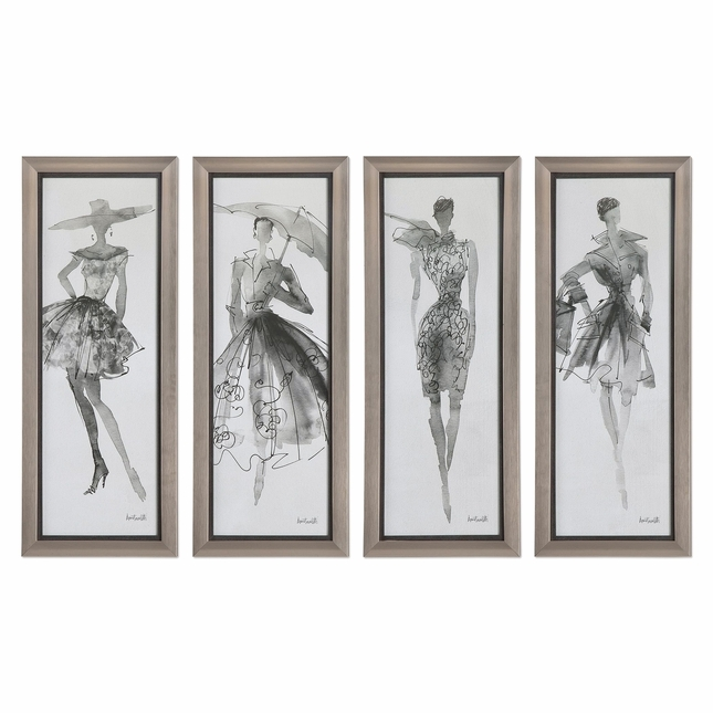 "Set Of 4, Arsty Fashion Sketchbook Lady Model Wall Art In Glass Frame, 16""x40"""