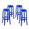 Set Of 4, Casper Modern Acrylic Bar Stool With Foot Ring, Blue