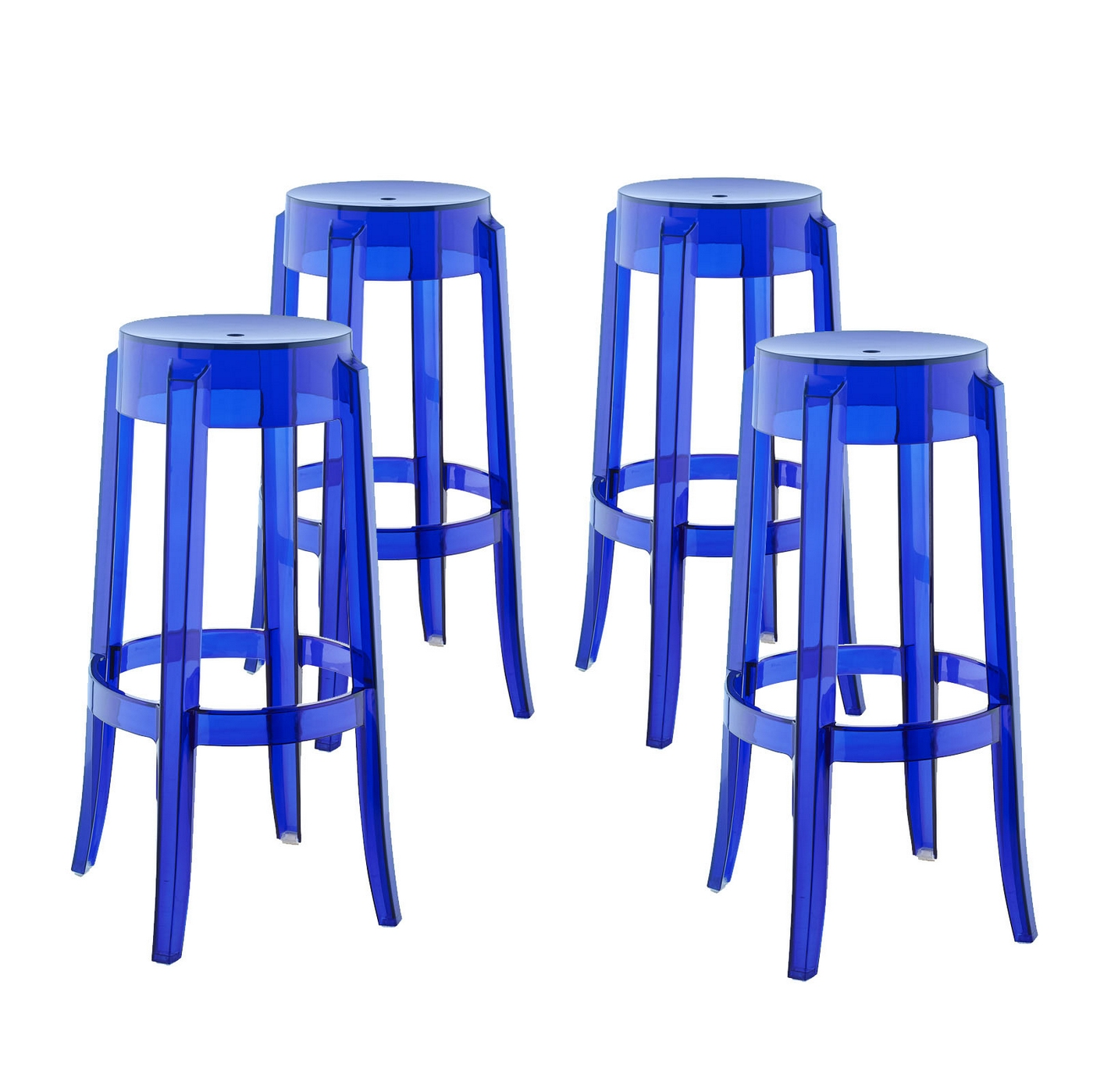 Set Of 4 Casper Modern Acrylic Bar Stool With Foot Ring Blue