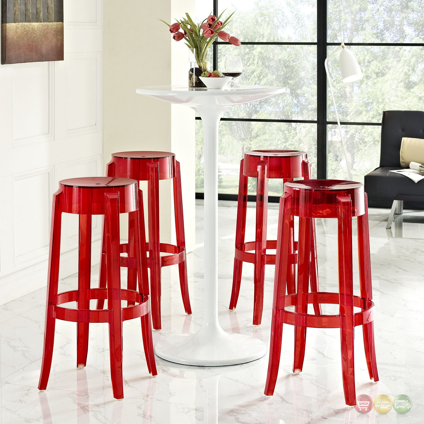 Set Of 4 Casper Modern Acrylic Bar Stool With Foot Ring Red