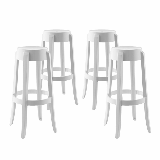 Set Of 4, Casper Modern Acrylic Bar Stool With Foot Ring, White