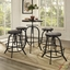 Set Of 4, Collect Industrial Bar Stool w/ Wood Seat & Cast Iron Frame, Black